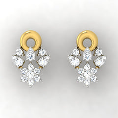 diamond studded gold jewellery - Aina Studs and Tops Earrings - Pristine Fire - 2