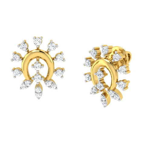 diamond studded gold jewellery - Alba Studs and Tops Earrings - Pristine Fire - 1