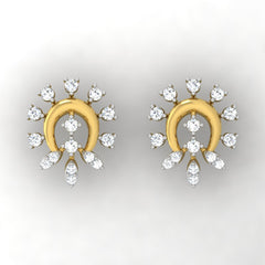 diamond studded gold jewellery - Alba Studs and Tops Earrings - Pristine Fire - 2
