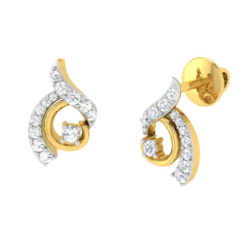 diamond studded gold jewellery - Amee Studs and Tops Earrings - Pristine Fire - 1