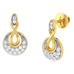 diamond studded gold jewellery - Anka Studs and Tops Earrings - Pristine Fire - 1