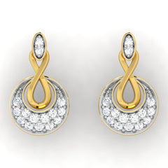 diamond studded gold jewellery - Anka Studs and Tops Earrings - Pristine Fire - 2