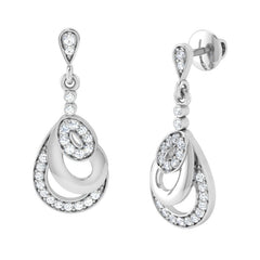 diamond studded gold jewellery - Aria Drops and Danglers Earrings - Pristine Fire - 1