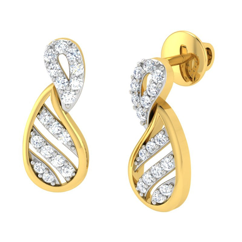 diamond studded gold jewellery - Aroa Studs and Tops Earrings - Pristine Fire - 1