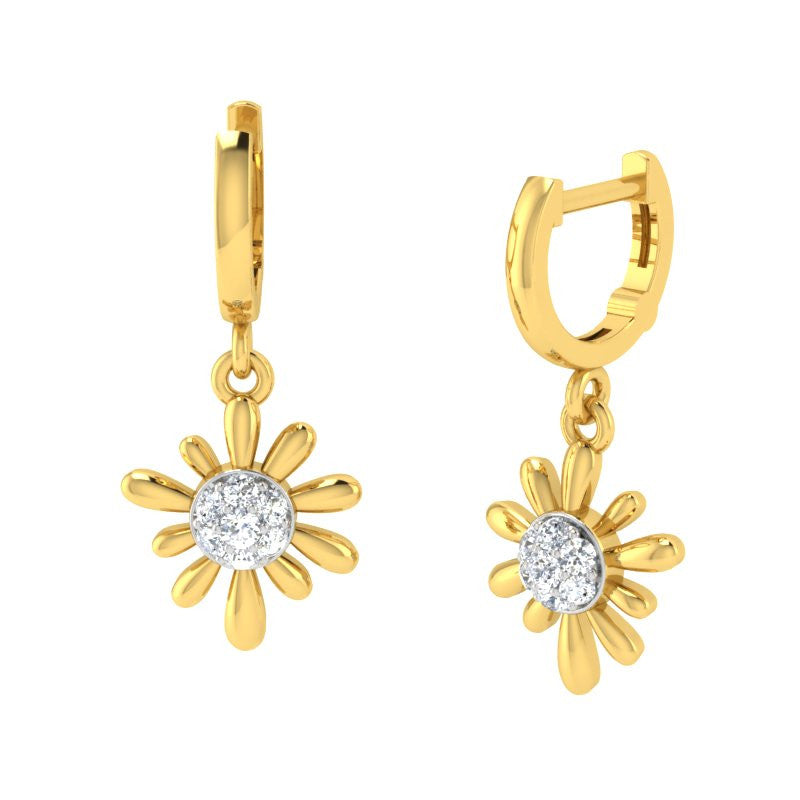 diamond studded gold jewellery - Arti Bali Earrings - Pristine Fire - 1