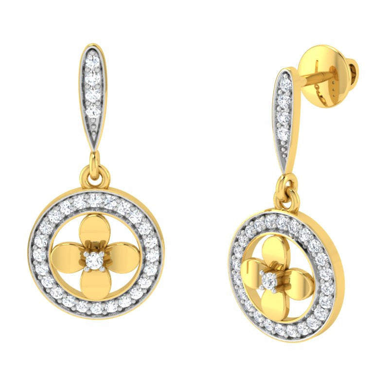 diamond studded gold jewellery - Aryn Drops and Danglers Earrings - Pristine Fire - 1