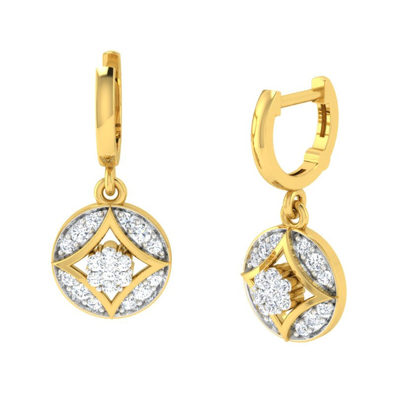 diamond studded gold jewellery - Azia Bali Earrings - Pristine Fire - 1