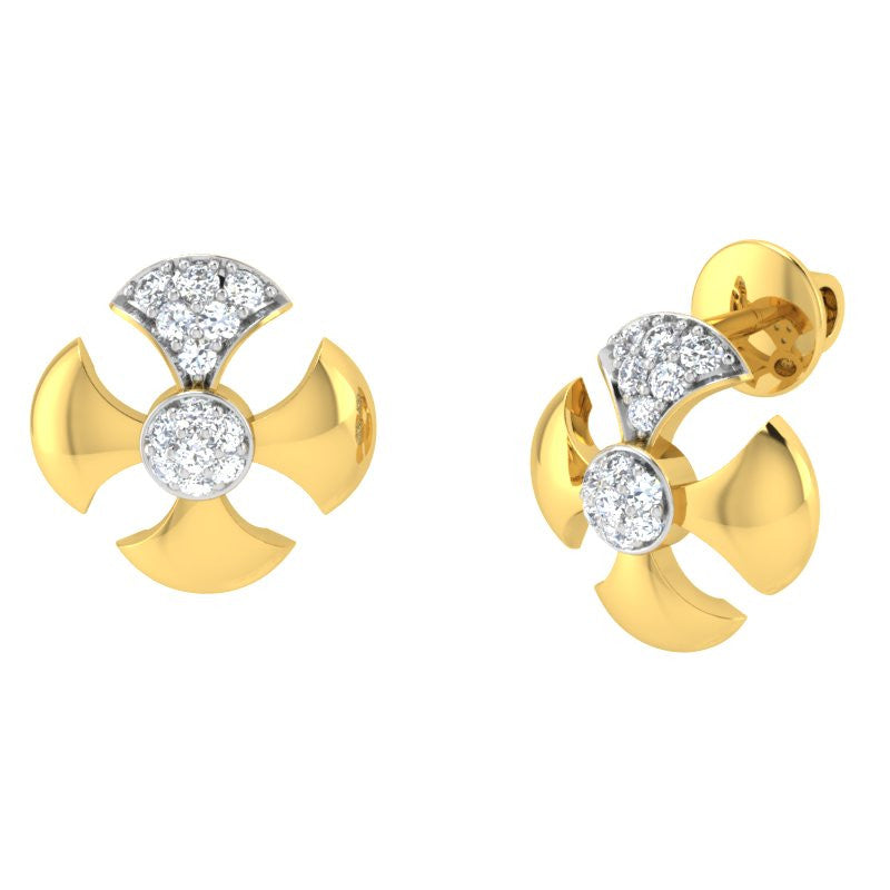 diamond studded gold jewellery - Bebe Studs and Tops Earrings - Pristine Fire - 1