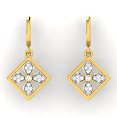 diamond studded gold jewellery - Bess Bali Earrings - Pristine Fire - 2