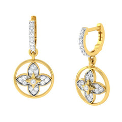 diamond studded gold jewellery - Bina Bali Earrings - Pristine Fire - 1