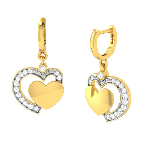 diamond studded gold jewellery - Cala Bali Earrings - Pristine Fire - 1