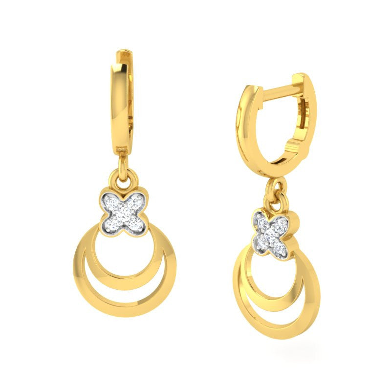 diamond studded gold jewellery - Cara Bali Earrings - Pristine Fire - 1