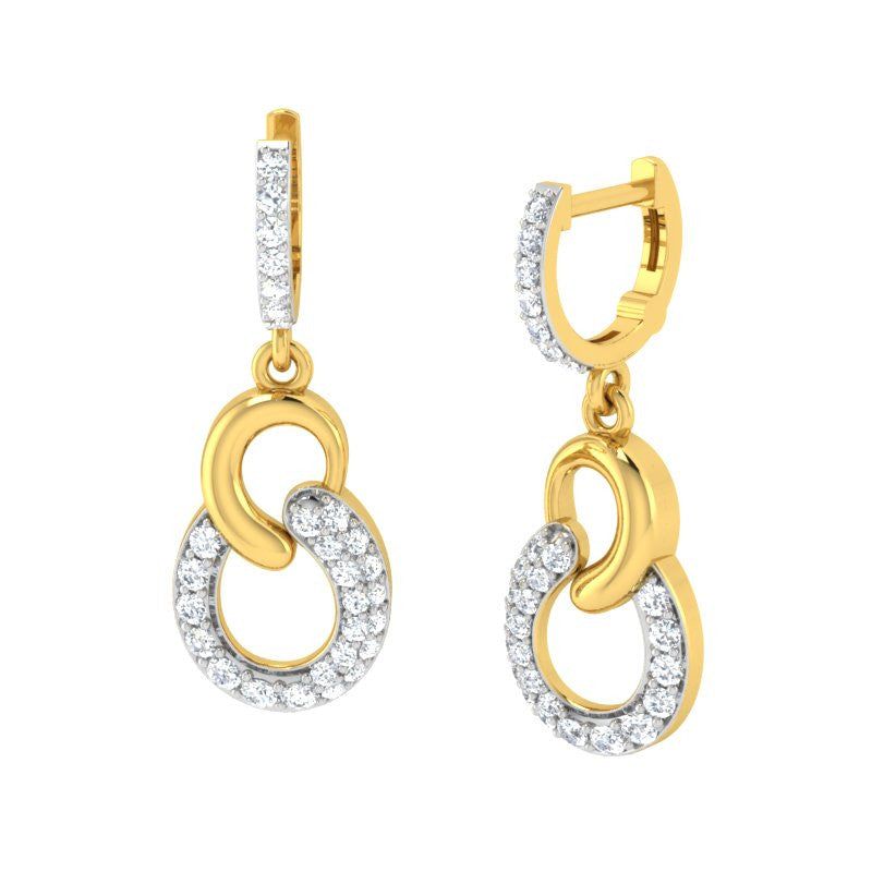 diamond studded gold jewellery - Cher Bali Earrings - Pristine Fire - 1
