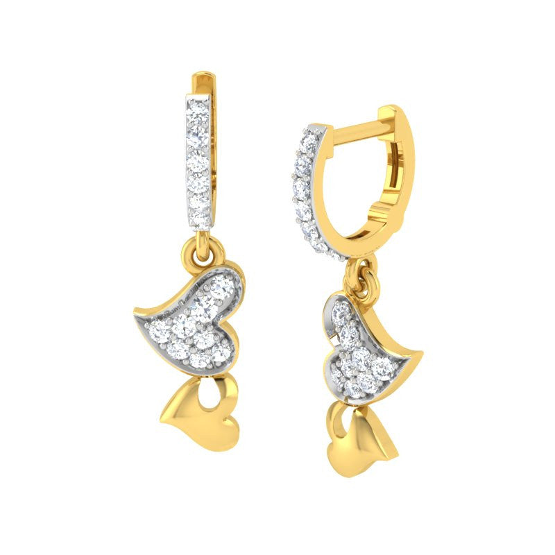 diamond studded gold jewellery - Clea Bali Earrings - Pristine Fire - 1
