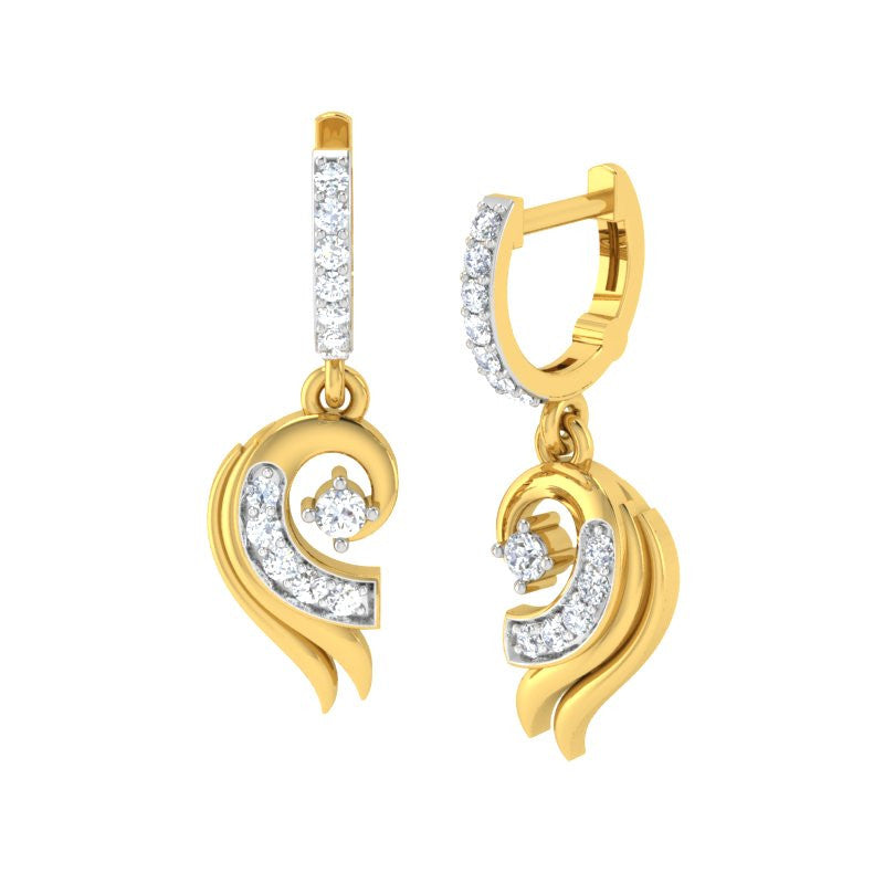 diamond studded gold jewellery - Cloe Bali Earrings - Pristine Fire - 1