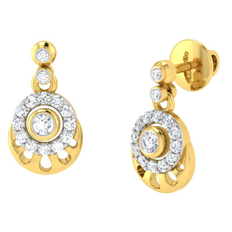 diamond studded gold jewellery - Dana Drops and Danglers Earrings - Pristine Fire - 1