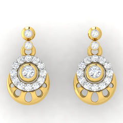 diamond studded gold jewellery - Dana Drops and Danglers Earrings - Pristine Fire - 2