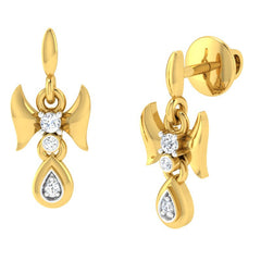 diamond studded gold jewellery - Demi Drops and Danglers Earrings - Pristine Fire - 1