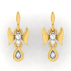 diamond studded gold jewellery - Demi Drops and Danglers Earrings - Pristine Fire - 2