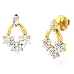 diamond studded gold jewellery - Dina Studs and Tops Earrings - Pristine Fire - 1
