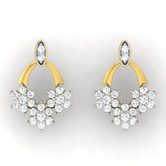 diamond studded gold jewellery - Dina Studs and Tops Earrings - Pristine Fire - 2