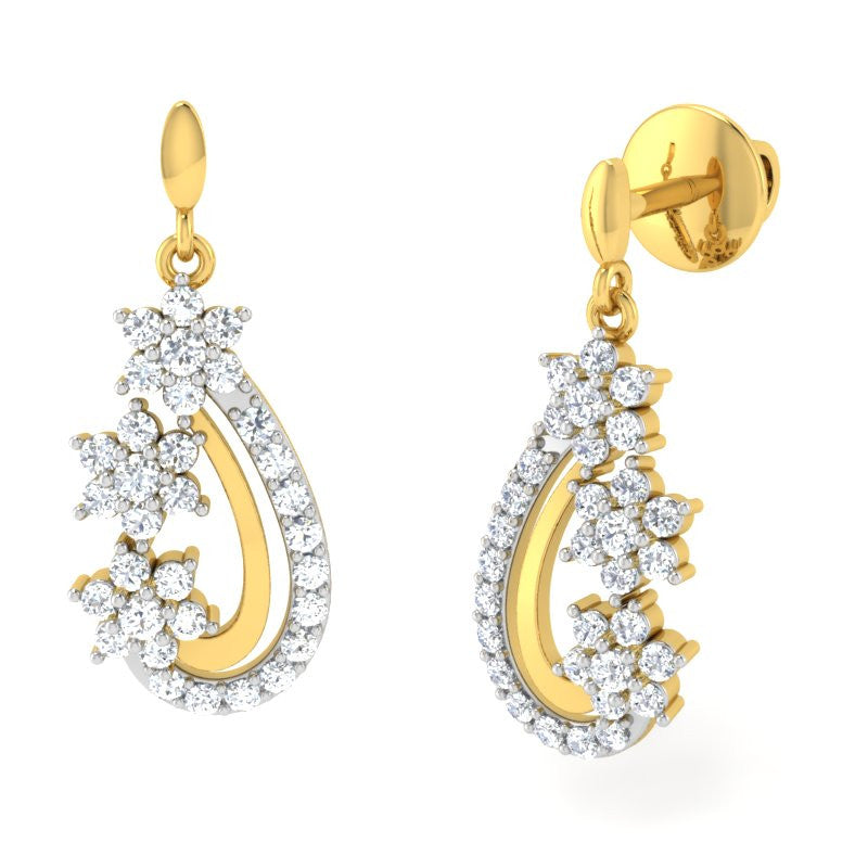 diamond studded gold jewellery - Diya Drops and Danglers Earrings - Pristine Fire - 1
