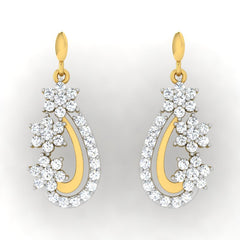 diamond studded gold jewellery - Diya Drops and Danglers Earrings - Pristine Fire - 2
