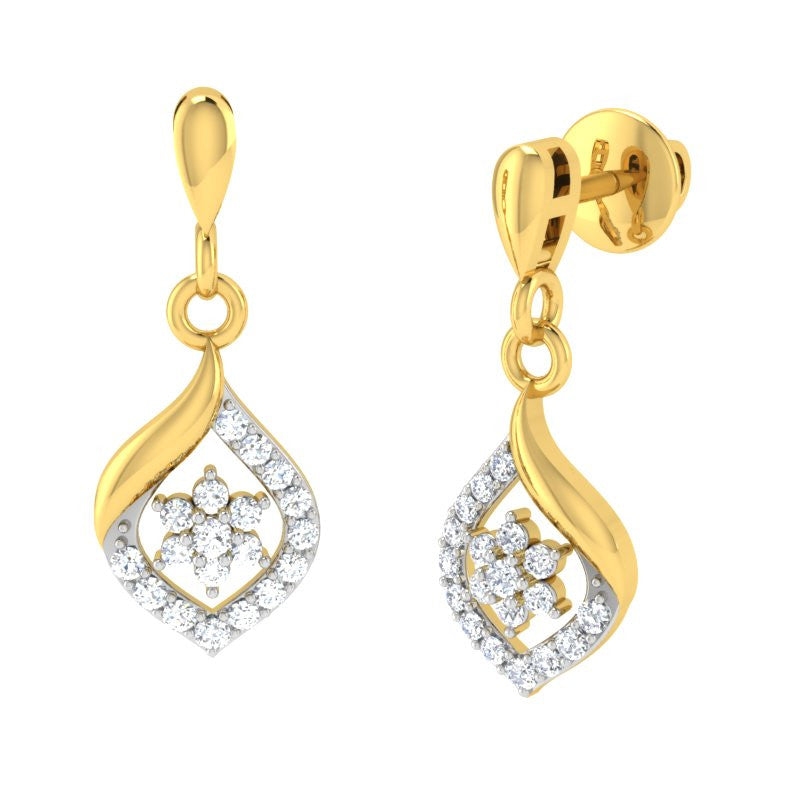 diamond studded gold jewellery - Dona Drops and Danglers Earrings - Pristine Fire - 1