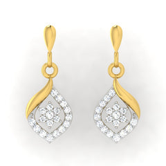 diamond studded gold jewellery - Dona Drops and Danglers Earrings - Pristine Fire - 2