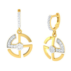diamond studded gold jewellery - Ella Bali Earrings - Pristine Fire - 1