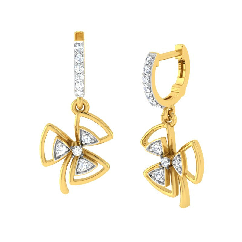 diamond studded gold jewellery - Elle Bali Earrings - Pristine Fire - 1
