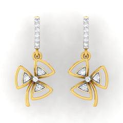 diamond studded gold jewellery - Elle Bali Earrings - Pristine Fire - 2