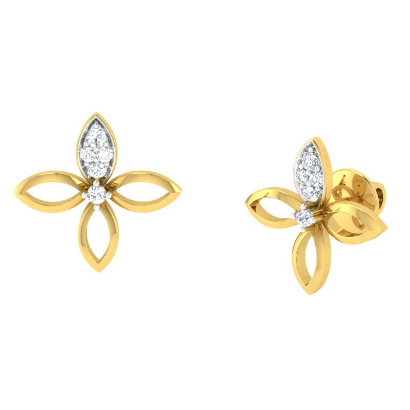 diamond studded gold jewellery - Elly Studs and Tops Earrings - Pristine Fire - 1