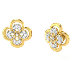 diamond studded gold jewellery - Elsa Studs and Tops Earrings - Pristine Fire - 1
