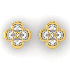 diamond studded gold jewellery - Elsa Studs and Tops Earrings - Pristine Fire - 2