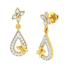 diamond studded gold jewellery - Elva Drops and Danglers Earrings - Pristine Fire - 1
