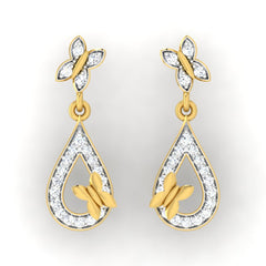 diamond studded gold jewellery - Elva Drops and Danglers Earrings - Pristine Fire - 2