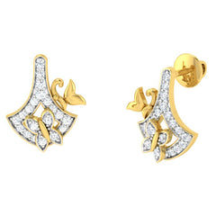 diamond studded gold jewellery - Emma Studs and Tops Earrings - Pristine Fire - 1