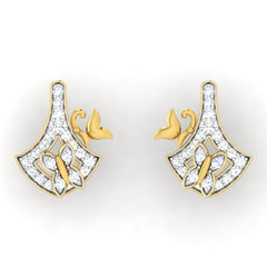 diamond studded gold jewellery - Emma Studs and Tops Earrings - Pristine Fire - 2