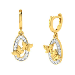 diamond studded gold jewellery - Emmy Drops and Danglers Earrings - Pristine Fire - 1