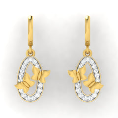 diamond studded gold jewellery - Emmy Drops and Danglers Earrings - Pristine Fire - 2