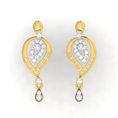 diamond studded gold jewellery - Enya Drops and Danglers Earrings - Pristine Fire - 2
