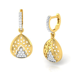 diamond studded gold jewellery - Gema Bali Earrings - Pristine Fire - 1