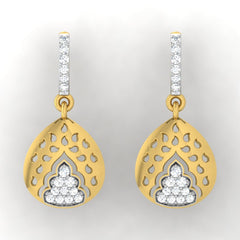 diamond studded gold jewellery - Gema Bali Earrings - Pristine Fire - 2