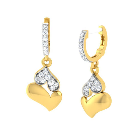diamond studded gold jewellery - Gena Bali Earrings - Pristine Fire - 1