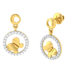 diamond studded gold jewellery - Gigi Drops and Danglers Earrings - Pristine Fire - 1