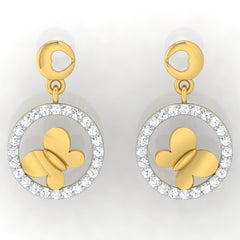 diamond studded gold jewellery - Gigi Drops and Danglers Earrings - Pristine Fire - 2
