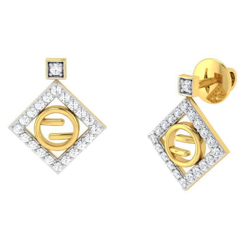 diamond studded gold jewellery - Gwen Studs and Tops Earrings - Pristine Fire - 1