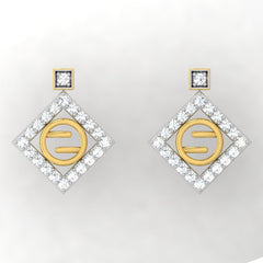 diamond studded gold jewellery - Gwen Studs and Tops Earrings - Pristine Fire - 2