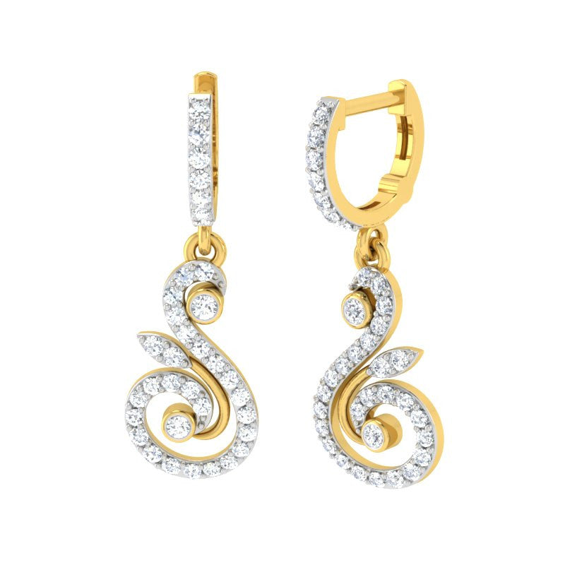 diamond studded gold jewellery - Hiba Bali Earrings - Pristine Fire - 1